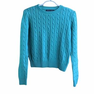 American Apparel turquoise cable knit sweater M